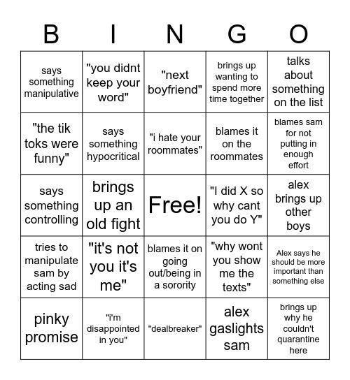 Breaking up with alex Bingo Card