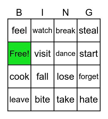 Irregular and regular verbs Bingo Card