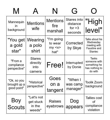 Mike MANGO Bingo Card