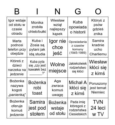 Rodzinne bingo Card