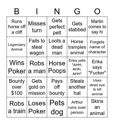Erika Plays Red Dead Bingo Card