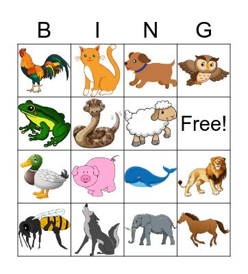 Animal Sounds Bingo Card
