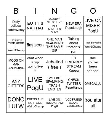 xQc's offline chat Bingo Card