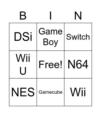 Nintendo Consoles Bingo Card