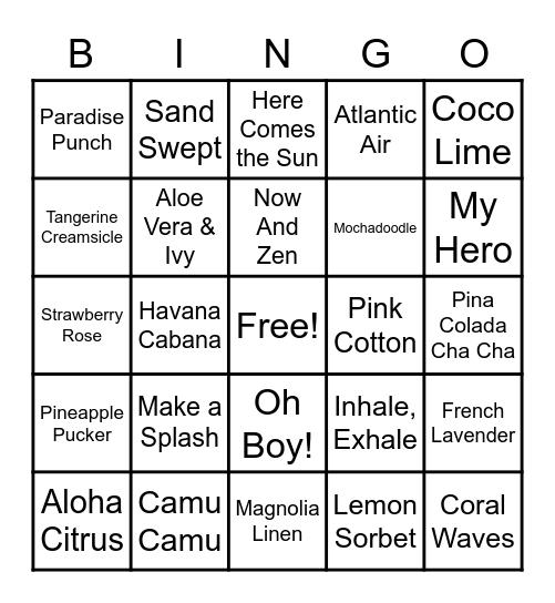 Scentsy Scent Bingo Card