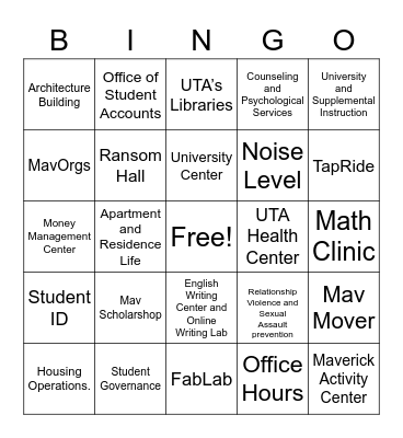 UTA Campus Resources Bingo Card