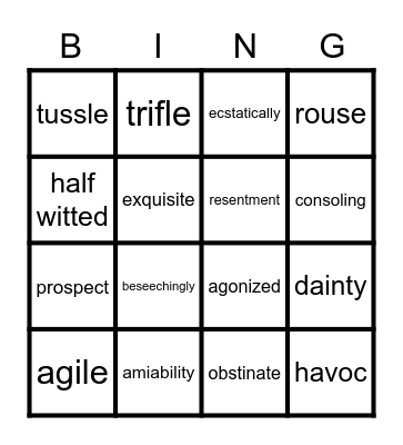 Heidi Final Test Vocabulary Bingo Card