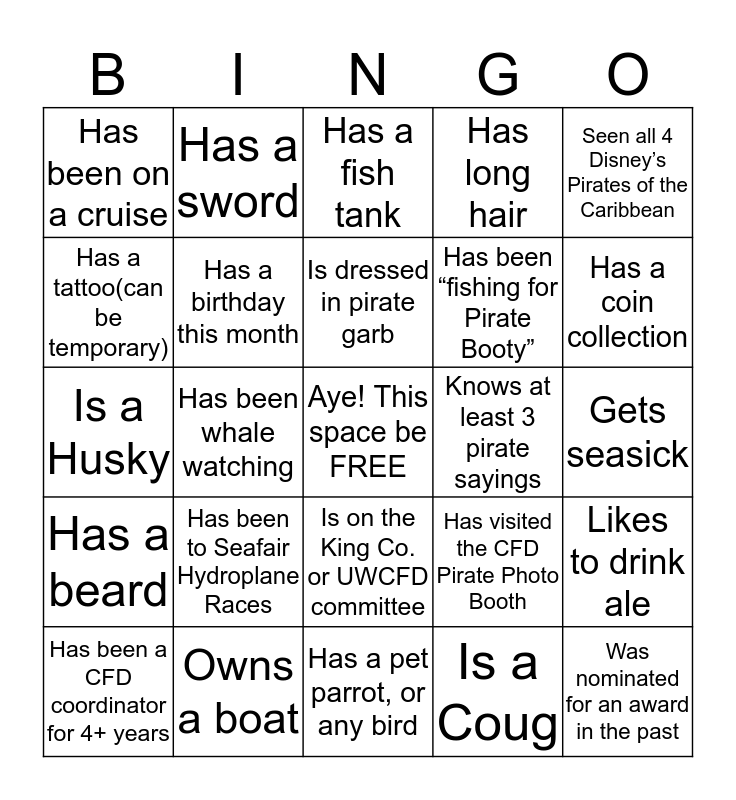 Ahoy! Across/down/diagonal wins Pirate Bingo! Turn in at the treasure chest for your prize! Name:____________________  Bingo Card