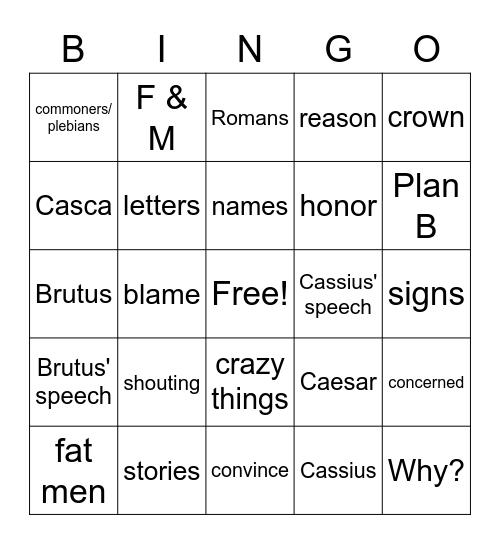 Julius Caesar Act 1, scenes 2 & 3 Bingo Card