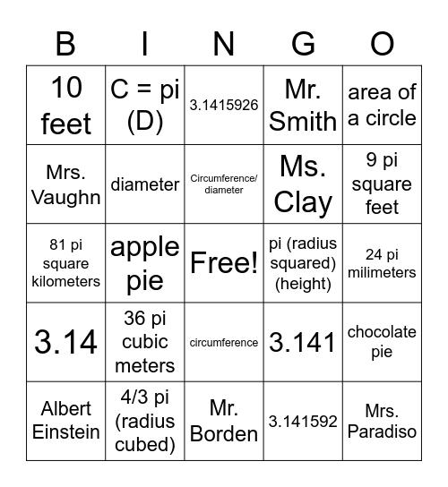 Pi Day Bingo Card