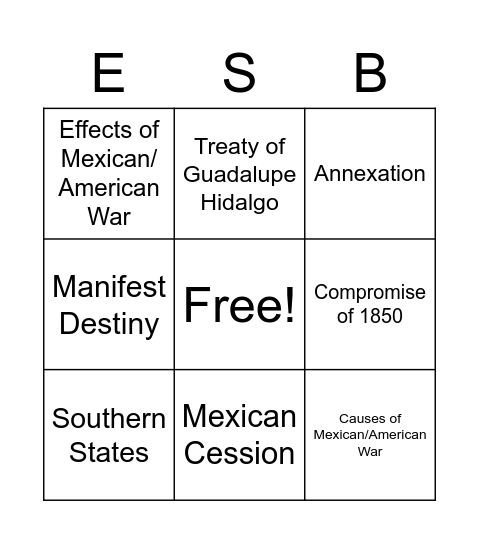 Early Statehood Bingo Card