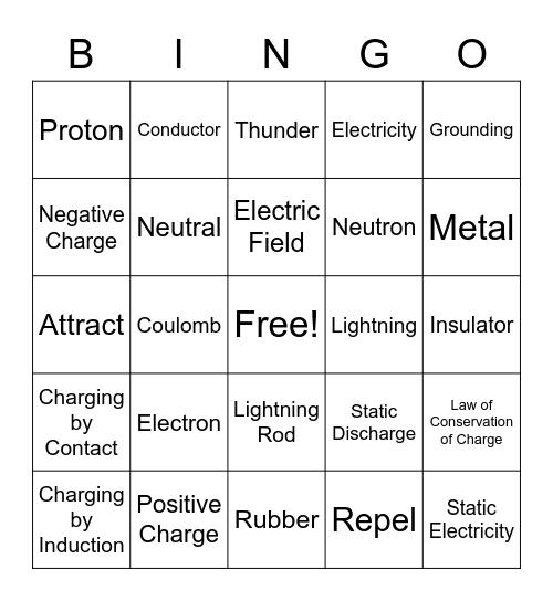 Electricity Bingo Card