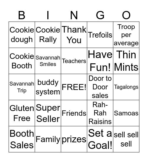 Cookie Bingo Card