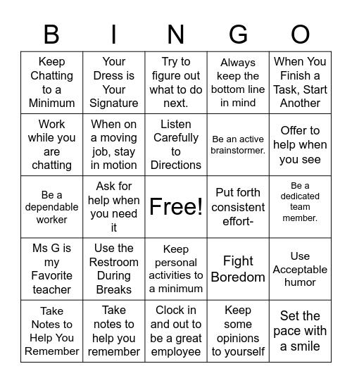 Protip Bingo Card