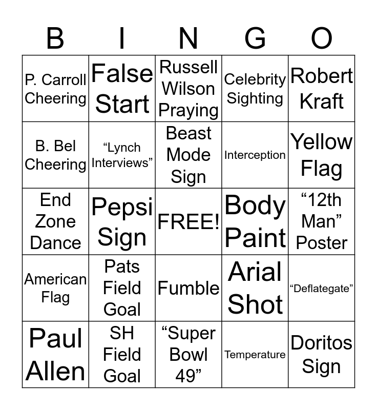 Ledge Super Bowl Bingo Card