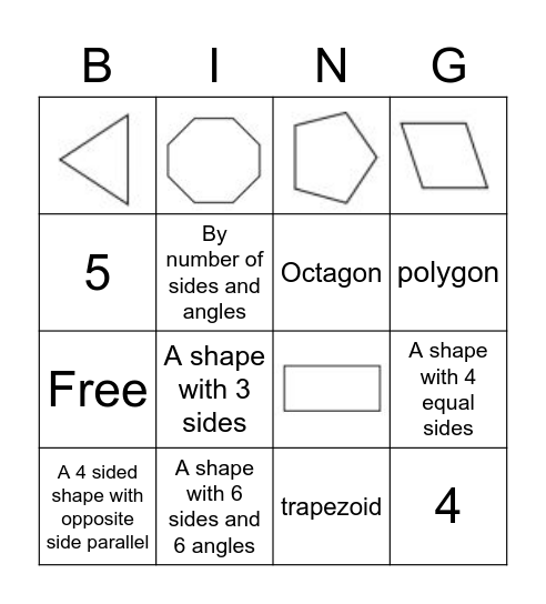 Mrs. B Class - Polygon Bingo! Bingo Card