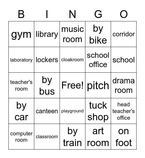 School Bingo Card