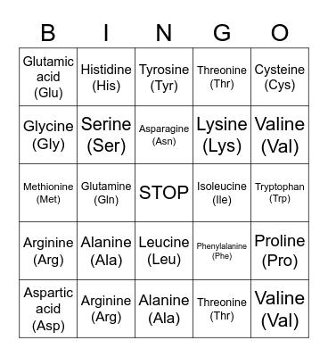 Codon Bingo Card