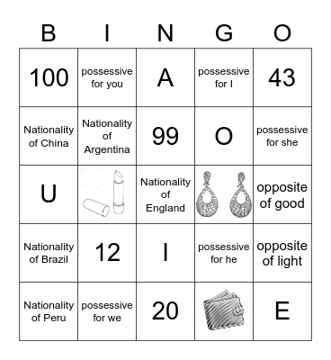 Unit 1 - Adults A1 Bingo Card