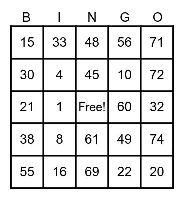 B I N G O Bingo Card