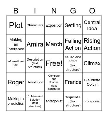 ELA 7 Review Bingo Card