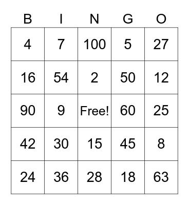Multiplication Facts Bingo Card