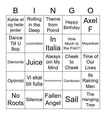 Bursdags-Musikk Bingo Card