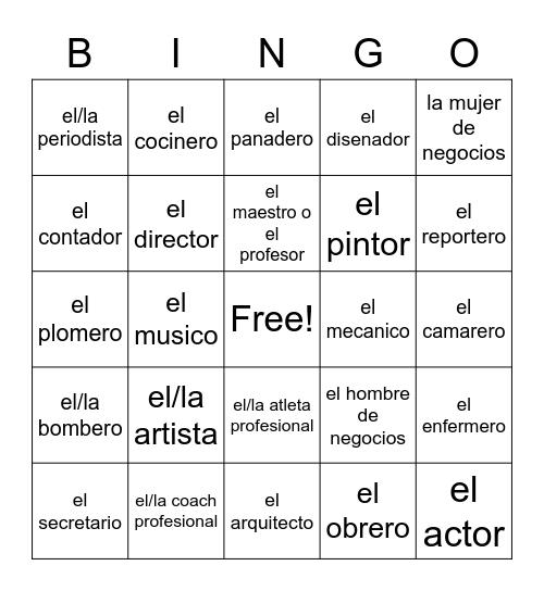 profesiones Bingo Card