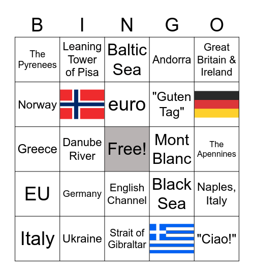 E  U  R  O  P  E Bingo Card