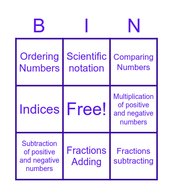 MATH GO Bingo Card