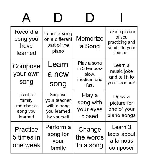 Piano Bingo! Bingo Card