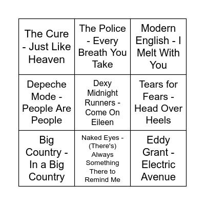 Music Bingo - New Wave Bingo Card
