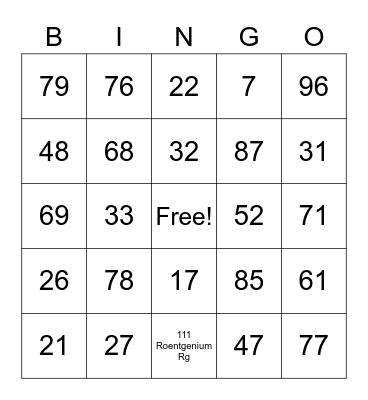 CHEM BINGO Card