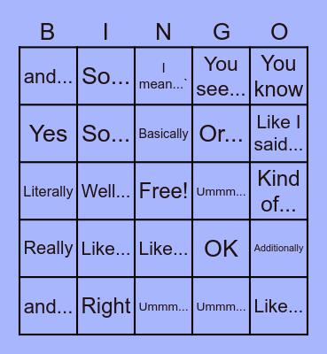 Filler Word Bingo Card