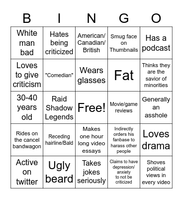 White Guy Youtuber Bingo Card