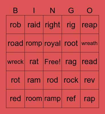 R WORDS Bingo Card