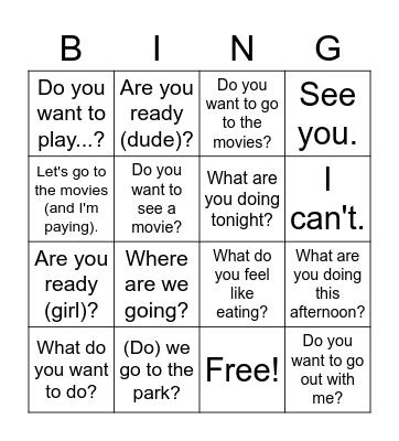 Invitaciones y planes Bingo Card