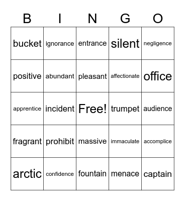 Schwa Final Stable Syllables Bingo Card