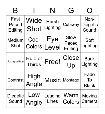 Film Foundations Bingo Card