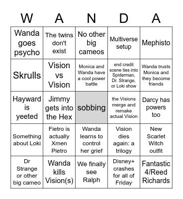 WandaVision Finale Bingo Card
