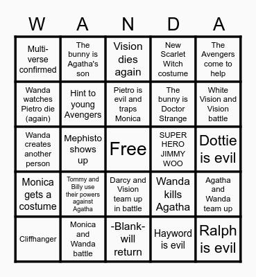 WandaVision Bingo Card