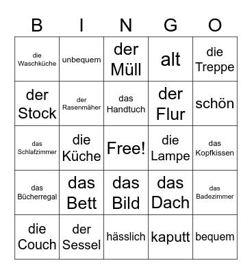 Das Haus und die Hausarbeiten Bingo Card