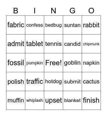 2-Syllable Bingo Card