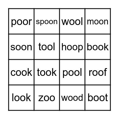 'oo' words Bingo Card