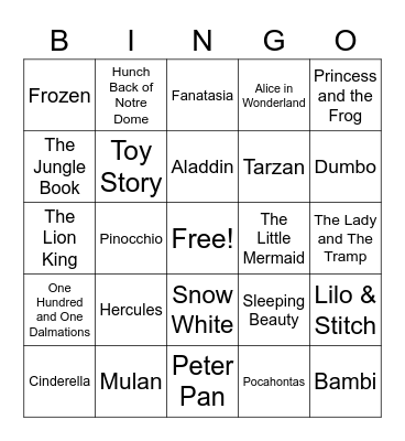 Disney Movies Bingo Card