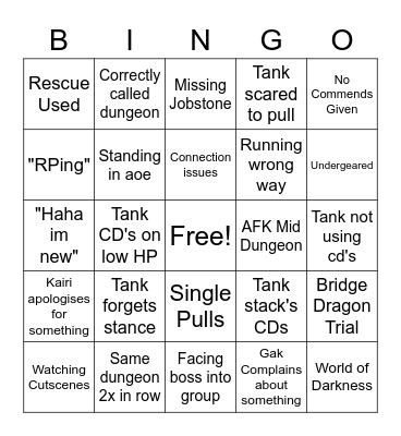 Shitty Roulette Bingo Card