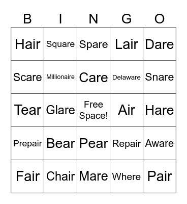 Final /r/ -AIR Bingo Card