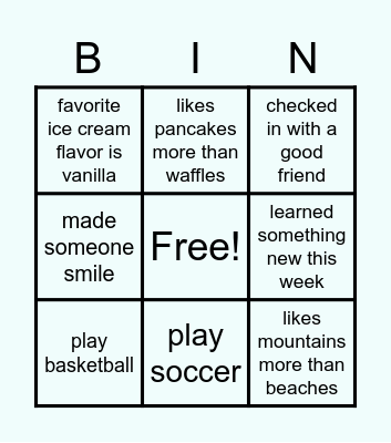 E days Bingo Card