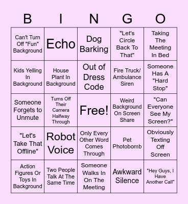 Zoom Meeting Bingo Card