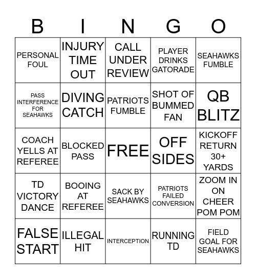 SUPERBOWL 2015 Bingo Card